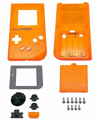 ★★Game Boy Classic Gehäuse Display Scheibe Batterie Deckel Transparent Orange★★
