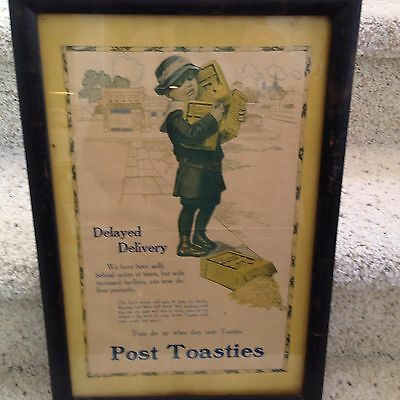 "Vintage Framed Post Toasties Cereal  Advertisement ...12"" X 18"""