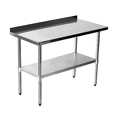 VOILAMART X Stainless Steel Work Bench Kitchen Catering - Stainless steel work table with backsplash