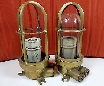 Lot 2 Vintage Cast Brass Nautical Ship Lights Explosion Proof Style. Ships Free