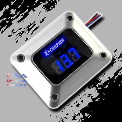 3 Digit Blue LED Readout 12v Digital Voltmeter Silver Car Marine Audio Video USA