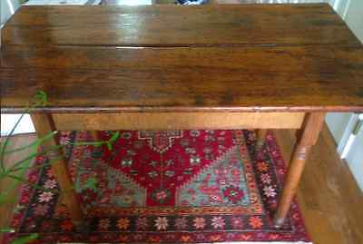 "Authentic Antique Solid Wood Wide Plank Farm Table, 46.75""L x 25.25""D x 29.75""H"