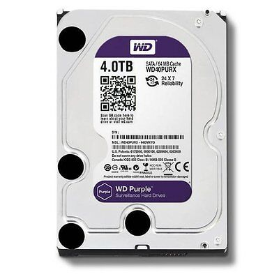 "Western Digital Hard Drive WD40PURZ WD Purple AV 3.5"" 4TB 64MB SATA 6Gb/s Bulk"