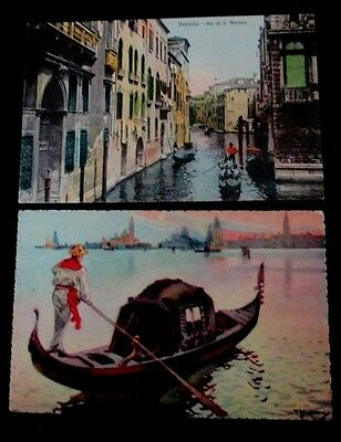 Mixed lot of 2 Vintage 1910s prelinen postcards of Canal Scenes of Venice, Ital