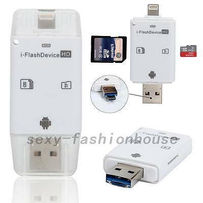 USB i-Flash Drive Micro SD/TF Memory Card Reader Adapter For iPhone Android UK