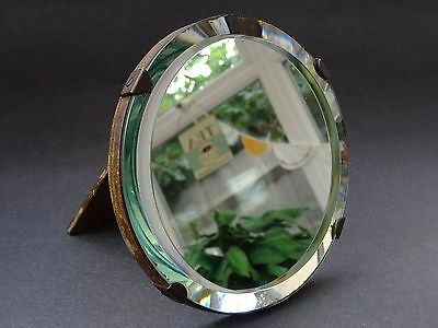 True Vintage Easel Back Small Round Dressing Table Mirror Bevelled Art Deco 30s