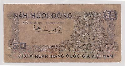 (N5-66) 1950s South Vietnam 50 Dong bank note (B)