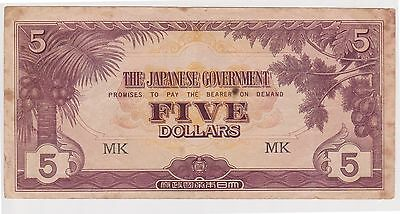 (N5-23) 1940s Japan invasion money Five dollars Bank note (S)