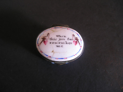 Antique Bilston Battersea  Enamel Motto Patch Box  When this you see remember me