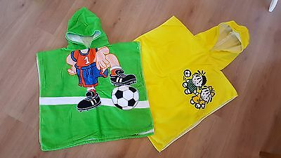 Baby 2x hooded towels football green yellow
