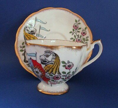Queen Anne China White Lion of Mortimer (Queen's Beasts) Tea Cup & Saucer