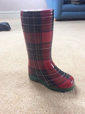 Small wellington boot money box in red tartan
