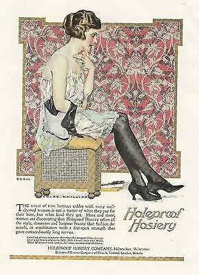PRINT Ad 1921 Flapper Coles Phillips HOLEPROOF HOSIERY Advertising Regal Shoes