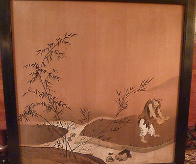 Antique Japanese signed Nobutsuna painting on wood panels Immortal River Bamboo