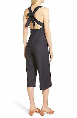 Madewell Lightweight Denim Apron Bow Back Jumpsuit Size 2 New