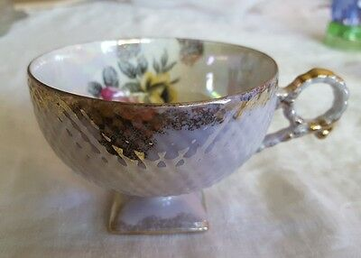 Square Foot Footed Japan Tea Cup Iridescent Pink Yellow Rose Flower Gold