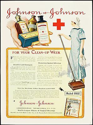 1917 JOHNSON & JOHNSON Healthcare Cleaning Lady Vtg Advertising Bottles PRINT AD