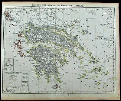 Greece Greek Islands Korfu Balkans Turkey 1852 Flemming old antique color map
