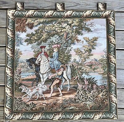 Antique Art Old Tapestry Painting Fabric Framed Wall Hanging French Vintage Dogs