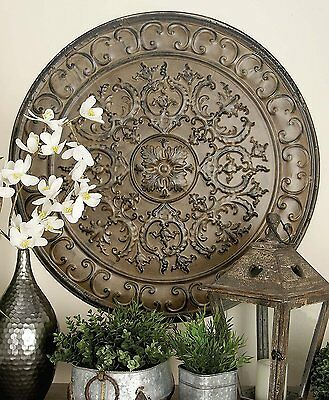 Large Vintage French Tuscan Old World Metal Raised Relief Medallion Wall Decor