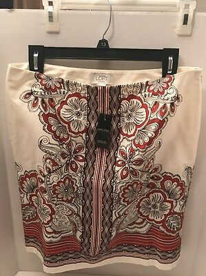 Ann Taylor Loft Skirt Red Off White Black Floral Casual Size 8 Petite NWT