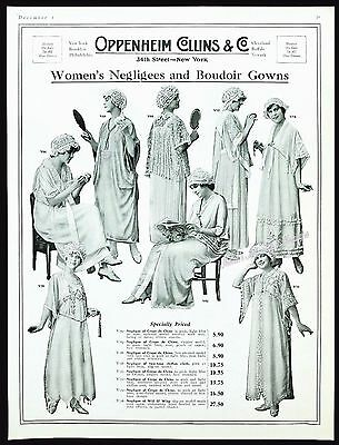1917 OPPENHEIM COLLINS Fashions Women's Negligees Gowns & Nightcaps Vtg PRINT AD
