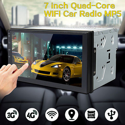 7'' Double 2 Din Car Radio Stereo Quad Core MP5 Player GPS 3G 4G WiFi Android 6