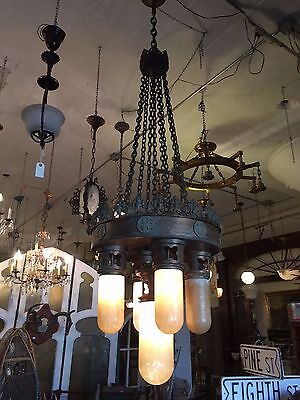 """Jumbo 89"""" Neo Gothic 1920's Five Light Cathedral Chandelier Ecclesiastical"""
