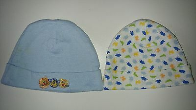 Gerber Baby 2 pack Blue Animal Themed 0-6 months Hats Caps Infant Newborn