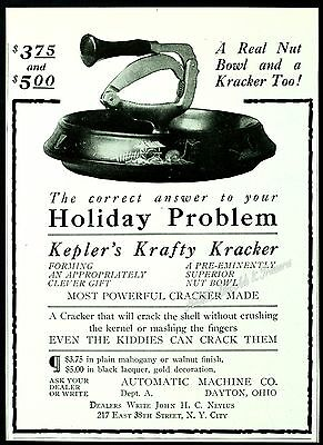 1917 RARE KEPLER'S KRAFTY KRACKER Nut Cracker & BOWL Dayton, Ohio Vtg PRINT AD
