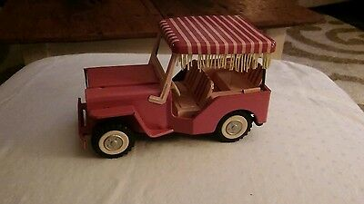 VINTAGE 1960s TIN LITHO FRICTION POWERED SURREY JEEP WITH ORIGINAL BOX JAPAN