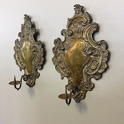 Pair of 19th Century Antique Dutch Import Brass Candle Wall Sconces Rococo