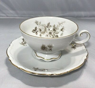 Mitterteich Bavaria Germany Gray And White Footed Gold Trim Tea Cup & Saucer