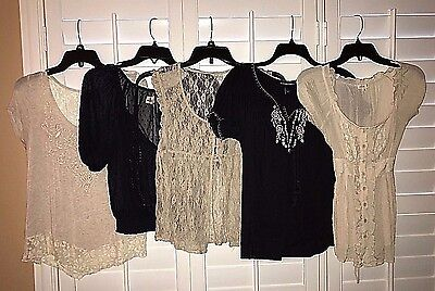 5-Piece Lot Small Tops - Boho Style - Includes Hollister, Daytrip & Other Brands