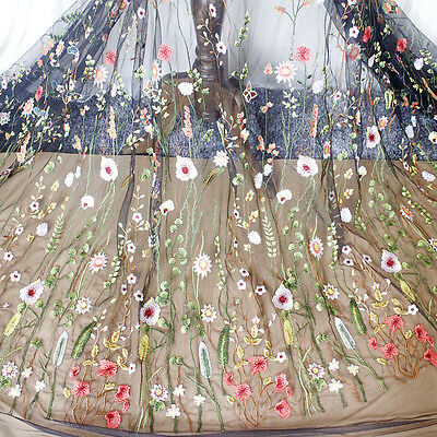 Flower Embroidered Tulle Mesh Lace Trim Wedding Dress Fabric 120cm Width Sewing