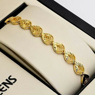 """Women's Chain New Fashion 18K Yellow Gold Filled Bracelet 7.3"""" Charms Link hot"""