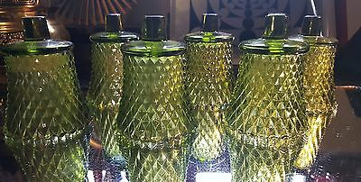 6 Vintage Indiana Glass Diamond Point Green Glass Votive Cup Candle holders