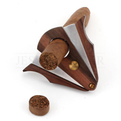 Xikar-Style Pocket Wood Cigar Cutter Guillotine Stainless Steel Double Blades