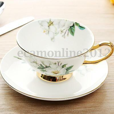 Ceramic Tea Cup Bone China Magnolia Porcelain Coffee Teacup with Saucer Set Gift