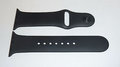 Original Apple Watch Sport BAND 38mm BLACK w/ space gray pin S/M Genuine Apple
