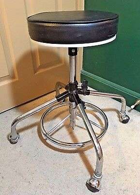 Vintage Juni Doctor Dentist Lab Stool - Swivel Seat Rolling Wheels Adjustable