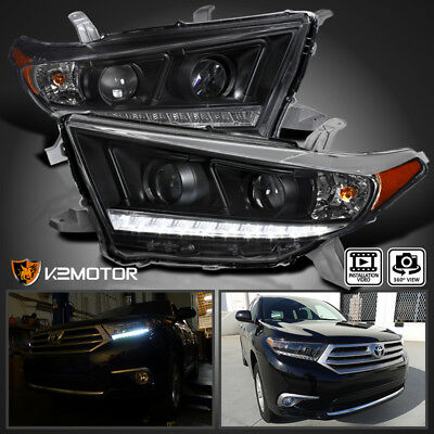 For Black 2011-2013 Toyota Highlander LED DRL Projector headlights Left+Right