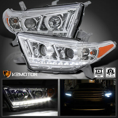 For 2011-2013 Toyota Highlander LED DRL Projector Headlights Head Lamps L+R