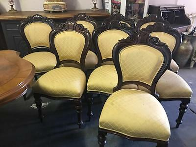 Set Of 8 French Antique Louis Phillippe Style Dining Chairs On Turned Legs