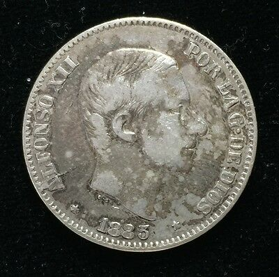 1883 Alfonso 50 centavos Spain-Philippines Silver Coin - lot 2