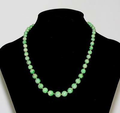 """""""a Type"""" Fine Antique Chinese Jadeite Beaded Necklace 14K Gold"""