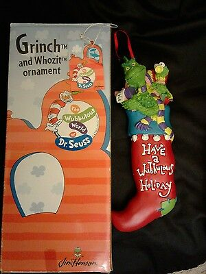 Dr. Seuss Grinch And Whozit Ornament Jim Henson With Original Box