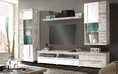 wohnwand wei shabby river canyon pinie wohnzimmer schrankwand led beleuchtung eur 552 99. Black Bedroom Furniture Sets. Home Design Ideas