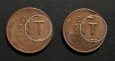 """LOT 1956 & 1958 Lincoln wheat cents ERROR die chip on """"T"""" cud penny 1¢ US coin"""