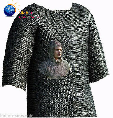 Chainmail Shirt W Hood Medieval Armour Costumes Dress Haubergeon  09Mm Sca